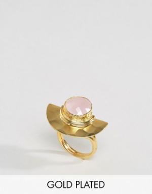Ottoman Hands Кольцо с камнем и полумесяцем. Цвет: золотой