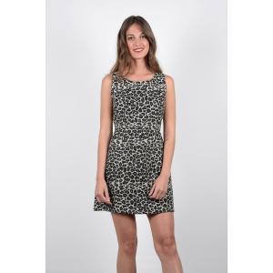 Платье расклешенное короткого покроя с рисунком MOLLY BRACKEN. Цвет: серый/ черный