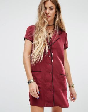 Honey Punch Платье-рубашка. Цвет: красный