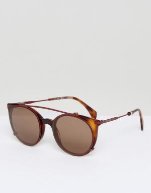 Tommy Hilfiger Красные круглые солнцезащитные очки. Цвет: красный