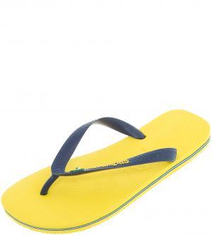 Сланцы Havaianas. Цвет: желтый, синий
