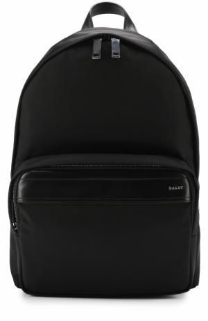 Текстильный рюкзак с кожаной отделкой Bally. Цвет: черный