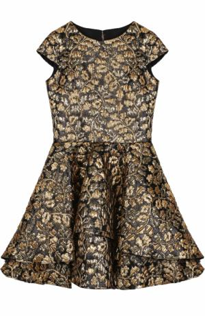 Мини-платье с металлизированной цветочной отделкой и бантом David Charles. Цвет: черный