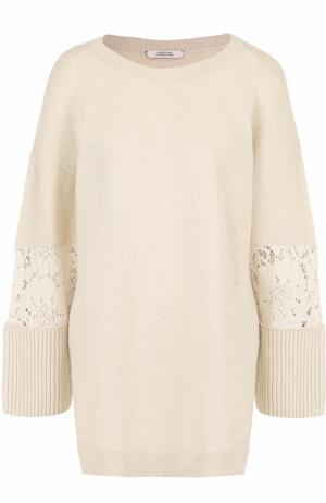 Шерстяной пуловер свободного кроя с кружевными вставками Dorothee Schumacher. Цвет: кремовый