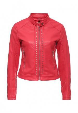 Куртка кожаная B.Style. Цвет: красный