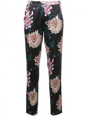 Прямые брюки с цветочным принтом Fleur Du Mal. Цвет: чёрный