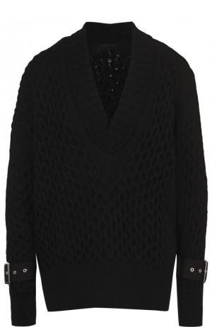 Однотонный пуловер фактурной вязки с V-образным вырезом Sacai. Цвет: черный