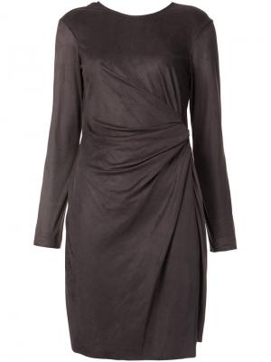 Metallic asymmetric draped dress Josie Natori. Цвет: серый