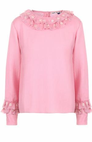 Шерстяная блуза с длинным рукавом и оборками Jupe by Jackie. Цвет: розовый