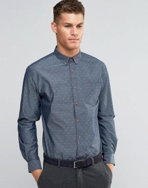 Silver Eight Узкая темно-серая рубашка добби. Цвет: серый