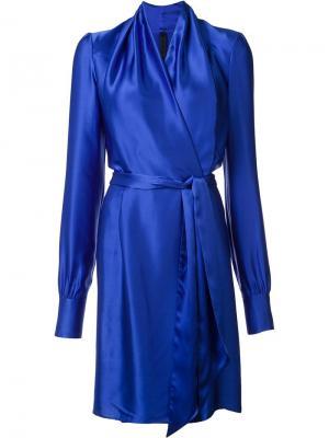 Шелковое платье с запахом Gareth Pugh. Цвет: синий