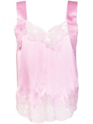 Топ с кружевной вышивкой Givenchy. Цвет: розовый и фиолетовый