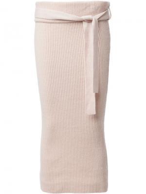 Облегающая юбка в рубчик Ryan Roche. Цвет: телесный