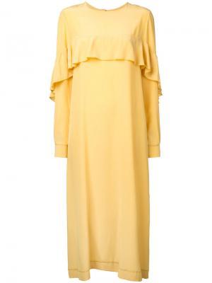 Платье шифт с оборкой N Duo. Цвет: жёлтый и оранжевый