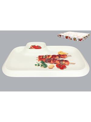 Блюдо для шашлыка Шашлык Elan Gallery. Цвет: белый, зеленый, коричневый, красный