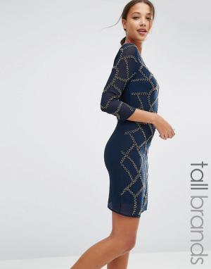 Maya Tall Цельнокройное платье с отделкой. Цвет: темно-синий