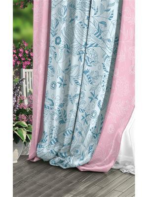 Штора (1 шт.), Волшебная ночь, 220*270см., ткань-Сатен, стиль-Прованс, дизайн-Diverse ночь. Цвет: светло-голубой, белый, розовый