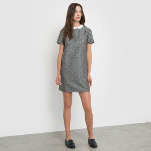 Жаккардовое платье с отложным воротником SCHOOL RAG. Цвет: серый