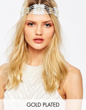 Olivia The Wolf Кружевная повязка на голову с искусственным жемчугом. Цвет: кремовый