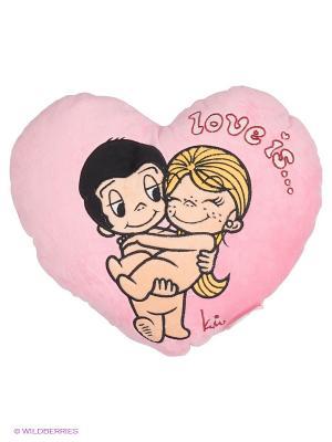 Подушка-сердце Love is... MAXITOYS. Цвет: розовый, бежевый