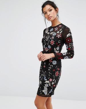 Frock and Frill Платье мини с вышивкой и бисером. Цвет: мульти