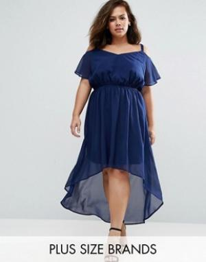 Praslin Платье с удлиненным краем и открытыми плечами Plus. Цвет: темно-синий