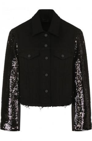 Джинсовая куртка с декорированными рукавами RTA. Цвет: черный