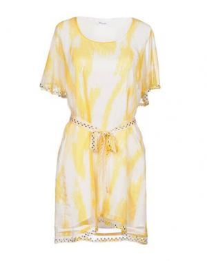 Короткое платье BEAYUKMUI. Цвет: желтый