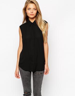 ASOS Мягкая рубашка без рукавов DESIGN. Цвет: черный