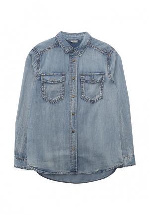 Рубашка джинсовая Gulliver. Цвет: голубой