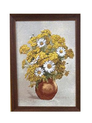 Гобеленовая картина Букет(пижма и ромашки) 25х34 см Рапира. Цвет: бежевый, желтый, белый