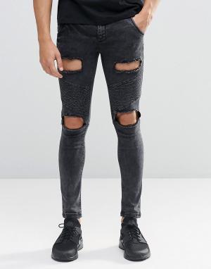 SikSilk Байкерские джинсы скинни с рваной отделкой. Цвет: черный