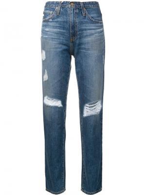 Джинсы прямого кроя с потертой отделкой Ag Jeans. Цвет: синий
