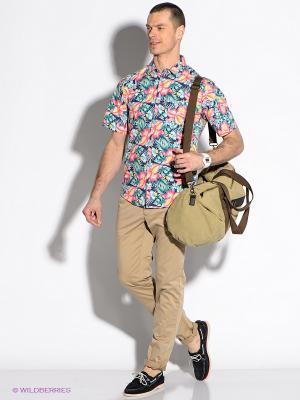Рубашка F5. Цвет: бирюзовый, фуксия, желтый