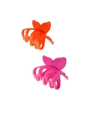 Заколка-краб (2 шт.) Happy Charms Family. Цвет: розовый, оранжевый