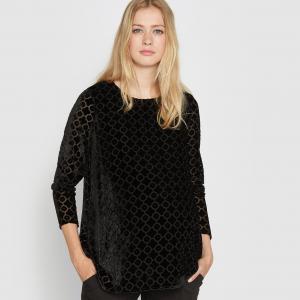 Блузка для периода беременности из велюра деворе La Redoute Collections. Цвет: черный