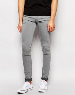 LDN DNM Светло-серые выбеленные джинсы скинни. Цвет: серый