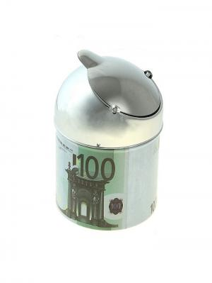Пепельница бездымная Валюта 100 Евро (лепесток, 7*10 см) А М Дизайн. Цвет: серо-зеленый, серебристый