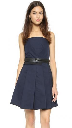 Платье без бретелек с загибами спереди Victoria Beckham. Цвет: темно-синий