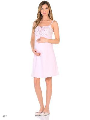 Ночная сорочка ФЭСТ. Цвет: розовый, белый
