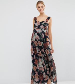 ASOS Maternity Шифоновое платье-бандо макси для беременных с цветочным принтом M. Цвет: мульти