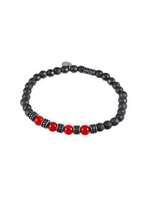 Браслет ELEMENT47 by JV. Цвет: темно-серый, красный