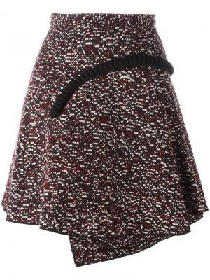 Плиссированная юбка с контрастной аппликацией Carven. Цвет: красный