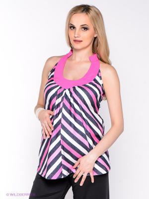 Блузка для беременных 40 недель. Цвет: розовый, черный