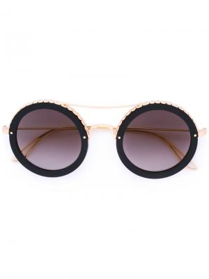 Круглые солнцезащитные очки Elie Saab. Цвет: металлический