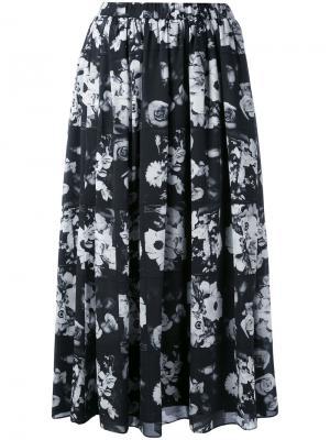 Юбка-миди с цветочным принтом Kenzo. Цвет: чёрный