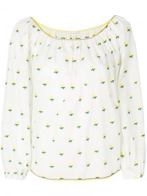 Блузка с принтом роз Marc Jacobs. Цвет: белый