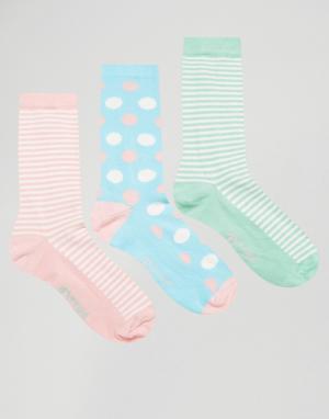 Penguin Набор из 3 пар носков в полоску и с принтом. Цвет: мульти