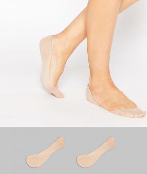 ASOS Комплект из 2 пар невидимых носков. Цвет: бежевый