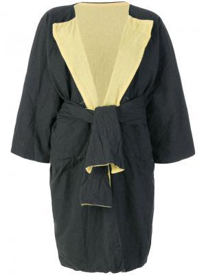 Двухстороннее пальто с запахом Daniela Gregis. Цвет: серый